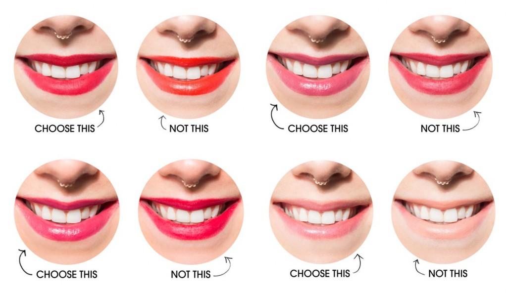 dents blanches rouge à lèvres