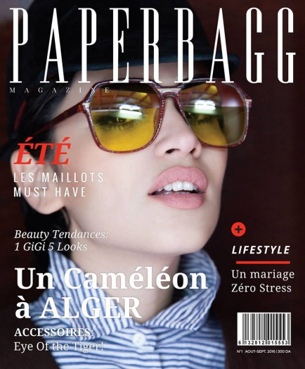 PAPERBAGG Magazine Août - Septembre couverture Un Caméléon à Alger modèle Mounia, Photographie par Zralock Works PAPERBAGG Magazine August - September Cover Un Caméléon à Alger with model Mounia, Photography by Zralock Works