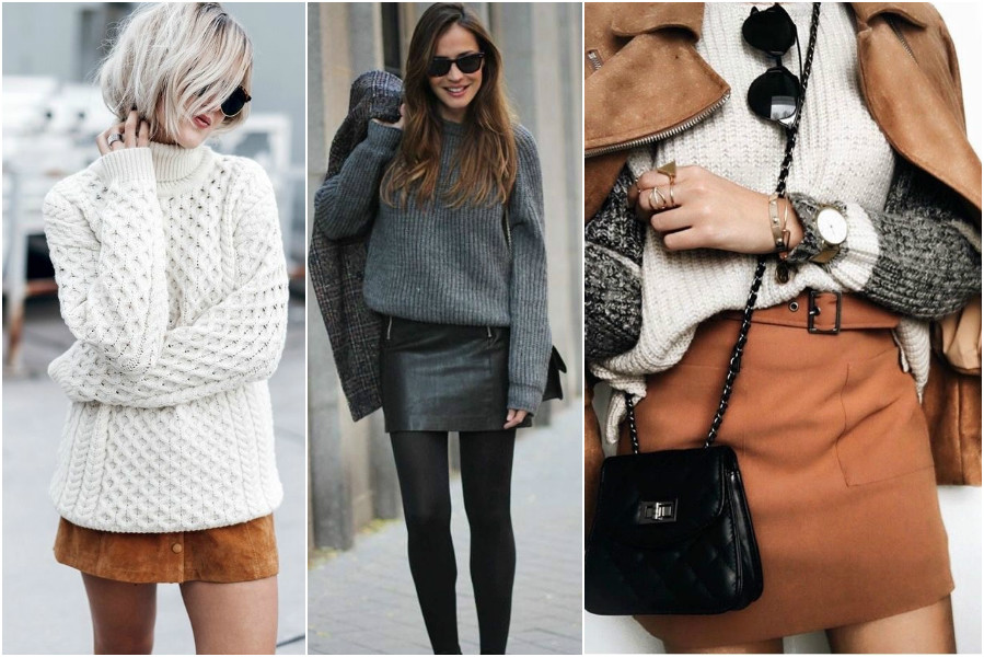 Knitwear façon casual chic mini jupe